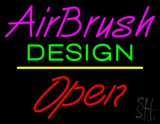 Pink Airbrush Design Open White Line LED Neon Sign