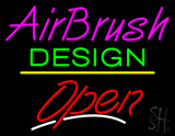 Airbrush Design Open Yellow Line LED Neon Sign