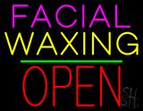 Facial Waxing Block Open Green Line LED Neon Sign