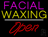 Facial Waxing Open White Line LED Neon Sign