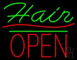 Slant Hair Block Open Green Line LED Neon Sign