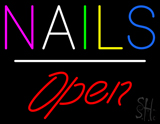 Multi Colored Nails Open White Line LED Neon Sign