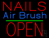Nails Airbrush Block Open Green Line LED Neon Sign