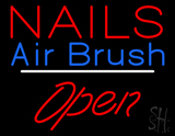 Nails Airbrush Open White Line LED Neon Sign