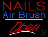 Red Nails Airbrush Open Yellow Line LED Neon Sign