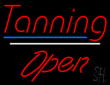 Red Tanning Open Blue White Line LED Neon Sign