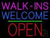 Walk-ins Welcome Block Open Green Line LED Neon Sign