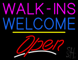 Walk-ins Welcome Open Yellow Line LED Neon Sign