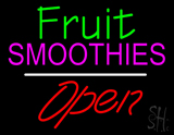 Fruit Smoothies Open White Line LED Neon Sign