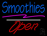 Blue Smoothies Open Red White Line LED Neon Sign