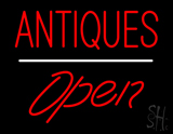 Antiques Open White Line Neon Sign