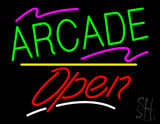 Arcade Open Yellow Line LED Neon Sign