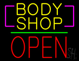 Body Shop Open Block Green Line LED Neon Sign