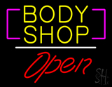 Body Shop Open White Line LED Neon Sign