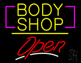 Body Shop Open Yellow Line LED Neon Sign