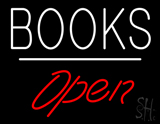 Books Open White Line Neon Sign