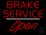 Brake Service Open White Line LED Neon Sign