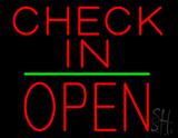 Check In Block Open Green Line LED Neon Sign