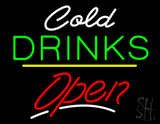 Cold Drinks Open Yellow Line LED Neon Sign
