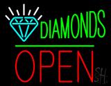 Diamonds Logo Block Open Green Line LED Neon Sign
