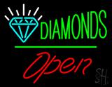 Diamonds Logo Open White Line LED Neon Sign