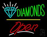 Diamonds Logo Open Yellow Line LED Neon Sign