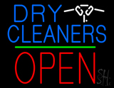 Dry Cleaners Logo Block Open Green Line LED Neon Sign