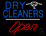 Dry Cleaners Logo Open White Line LED Neon Sign