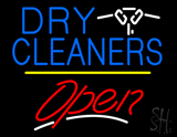 Dry Cleaners Logo Open Yellow Line LED Neon Sign