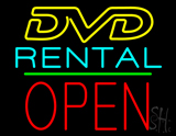 DVD Rental Open Block Green Line LED Neon Sign