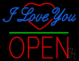 I Love You Logo Block Open Green Line LED Neon Sign
