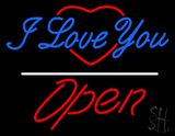 I Love You Logo Open White Line LED Neon Sign