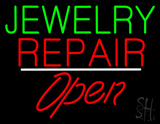 Jewelry Repair Open White Line LED Neon Sign