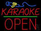 Karaoke Logo Block Open Green Line LED Neon Sign