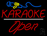 Karaoke Logo Open White Line LED Neon Sign