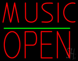 Music Open Block Green Line LED Neon Sign