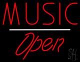 Music Open White Line LED Neon Sign