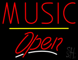 Music Open Yellow Line LED Neon Sign