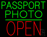 Passport Photo Open Block Green Line LED Neon Sign