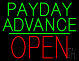 Green Payday Advance Green Line Block Red Open LED Neon Sign