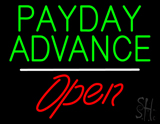 Payday Advance Open White Line LED Neon Sign