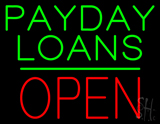 Payday Loans Block Open Green Line LED Neon Sign