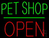 Pet Shop Block Open Green Line LED Neon Sign