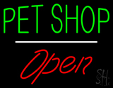 Pet Shop Open White Line LED Neon Sign