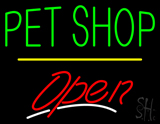 Pet Shop Open Yellow Line LED Neon Sign