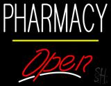 Pharmacy Open Yellow Line LED Neon Sign
