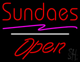 Red Sundaes Open White Line LED Neon Sign
