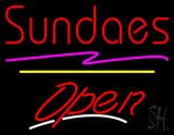 Sundaes Open Yellow Line LED Neon Sign