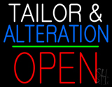 Tailor and Alteration Block Open Green Line LED Neon Sign