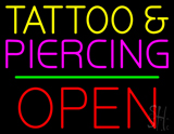 Tattoo and Piercing Block Open Green Line LED Neon Sign